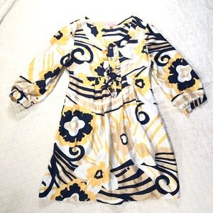 Lilly Pulitzer navy yellow white silk dress/ 6
